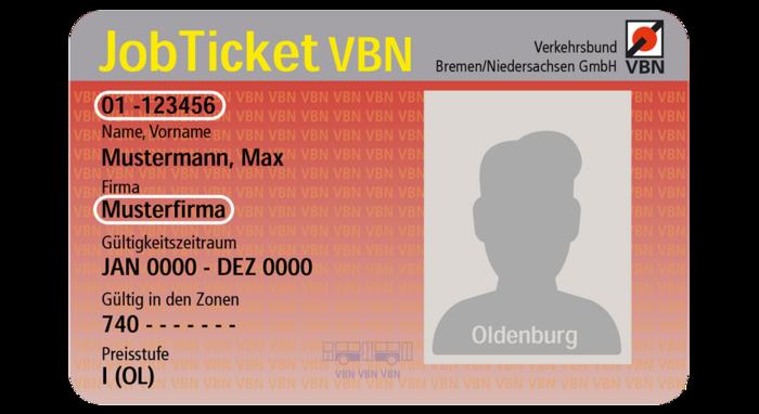 Jobticket VWG Oldenburg Vorderseite