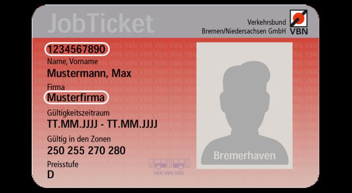 Jobticket Bremerhaven Bus: Vorderseite